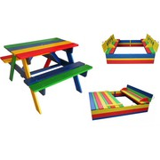 Детский комплект - 1 песочница с крышкой и столик с лавочками